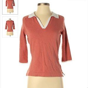 Adidas Size S Orange V-Neck Shirt Top